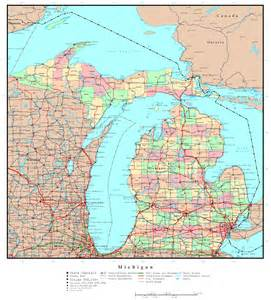 Michigan Map with Cities Large