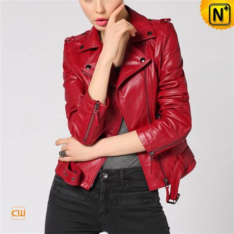 motocross womens red leather moto jacket for women cw650032