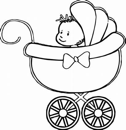 Stroller Coloring Pages Printable Boy Drawing Sheets