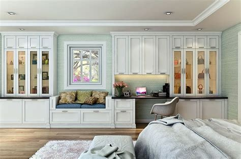 Custom Shaker Style Bedroom Wall Unit Features A Built-in