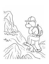 Hiking Coloring Camping Pages Bear sketch template