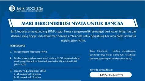 lowongan kerja bank indonesia seleksi pcpm  pendaftaran