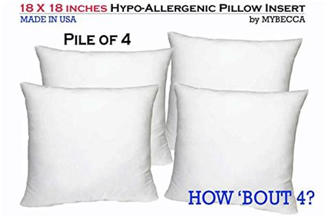 18 x 18 pillow insert pile of 4 by mybecca 18 x 18 inches pillow insert