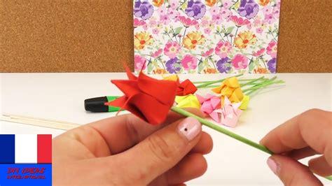 Origami Tulipe Diy. Fleurs En Papier. Déco Rapide Et