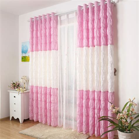 white and pink wrinkle curtains design to make chic room