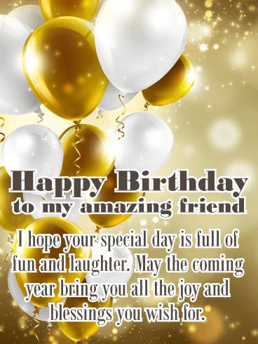 gorgeous gold happy birthday wishes card  friends