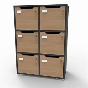 Meubles Rangement Bureau : caseo meuble de rangement bureau et vestiaire collectif 6 cases bois ~ Mglfilm.com Idées de Décoration