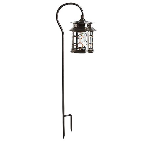 pine top solar lantern with shepherds hook stainless