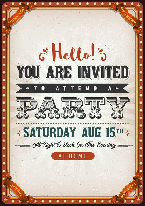 vintage party invitation card   vectors