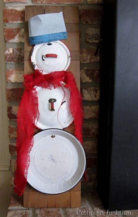 snowman creation  reclaimed enamel ware pot lids