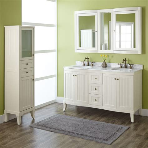 "60"" Palmetto Creamy White Double Vanity Set   Double Sink"