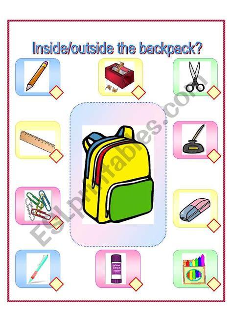 inside outside the backpack esl worksheet by lin134 156 | 474792 1 inside outside the backpack