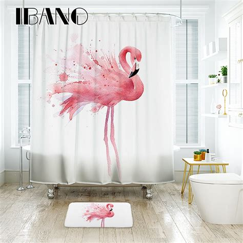ibano flamingo shower curtain waterproof polyester fabric