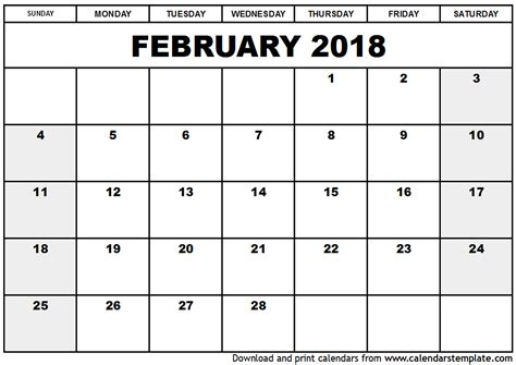microsoft calendar template 2018 february 2018 calendar template calendar printable free