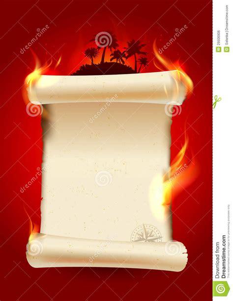 vintage burning scroll blank royalty  stock image