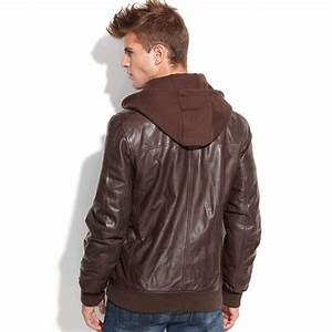 Guess Jacket Fleece Hood Leather Bomber in Brown for Men ...