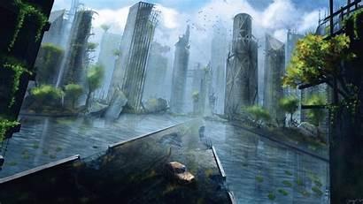 Ruins Apocalyptic Ruin Water Skyscraper Deviantart Fiction