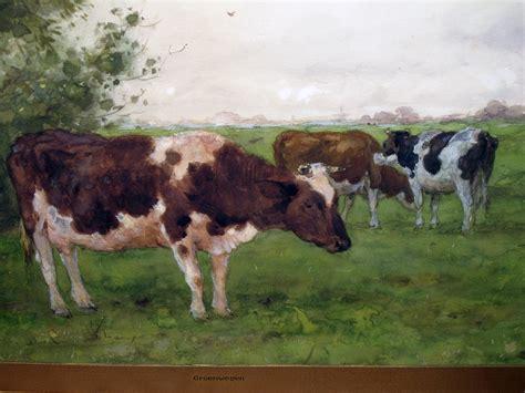 serene dutch landscape watercolor painting   cows grazing   field  adrianus