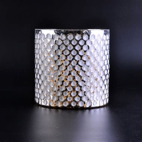 luxury silver glass candle holder  white dotsglass