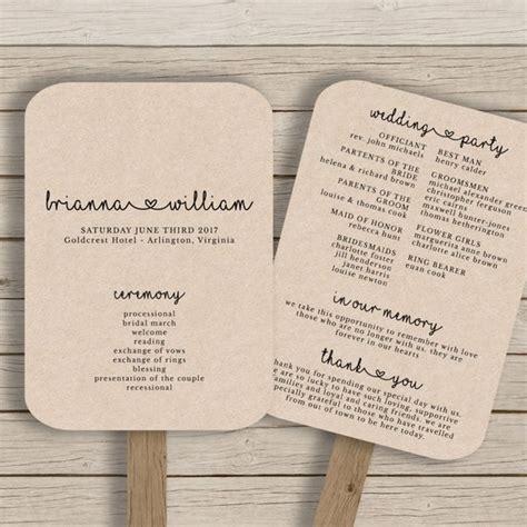 free wedding program fan wedding fan program template rustic wedding fan printable