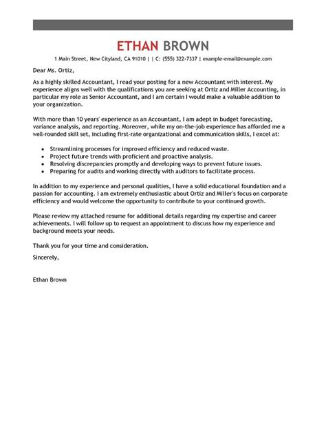 Senior Accountant Cover Letter Leading Professional Accountant Cover Letter Exles Resources Myperfectcoverletter