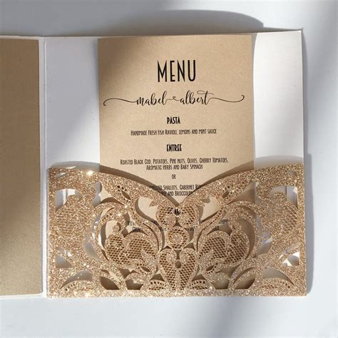 Gold Glitter Laser Cut Wedding Invites with RSVP Cards