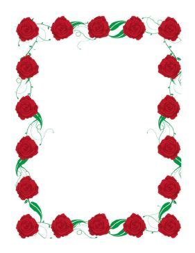 rose border includes deep red roses  bright green