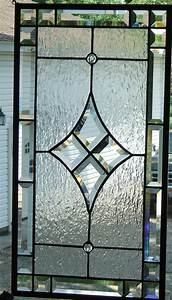 Diamond Beveled Stained Glass Panel Clear Textured Glass