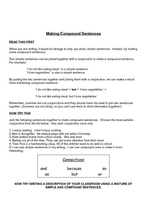 making compound sentences worksheet    grade