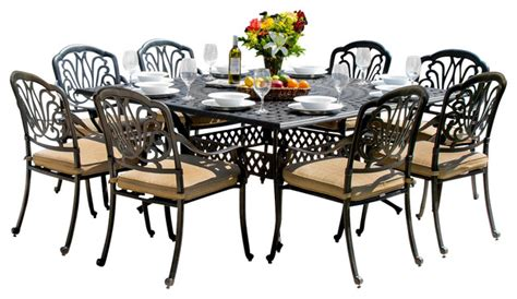8 person patio table rosedown 8 person cast aluminum patio dining set with cast