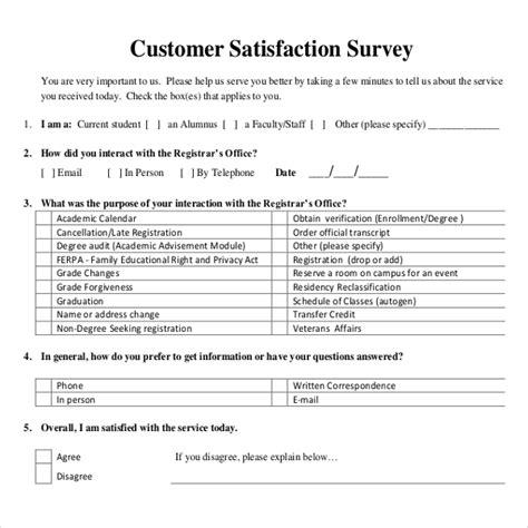 customer satisfaction survey templates  word
