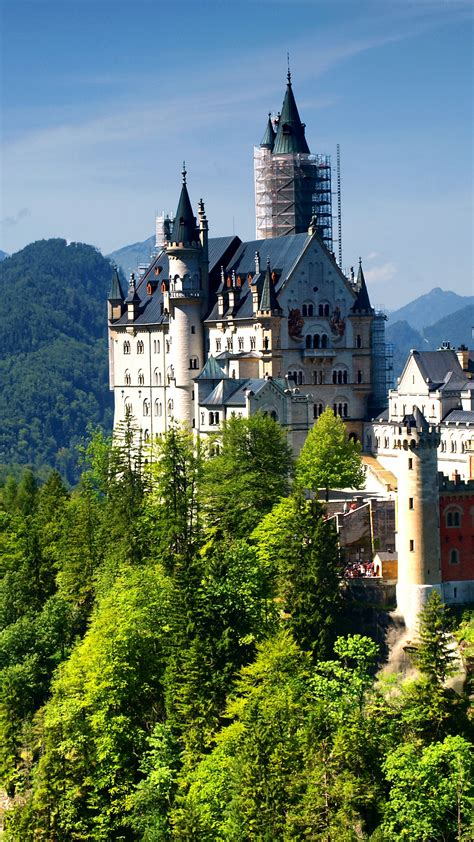 wallpaper neuschwanstein castle bavaria germany alps