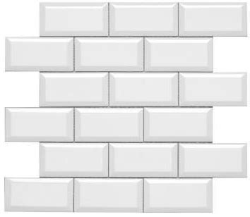 subway 2x4 beveled white gloss ceramic wall tile