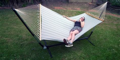 Big Hammocks by X Large Free Standing Hammock Blue And White Canvas