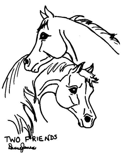Kleurplaat Paardenhoofden by Farm Coloring Book