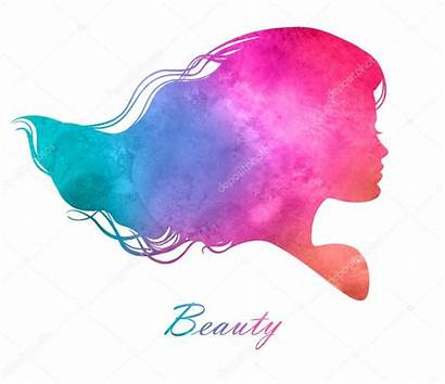 Silhouette Hair Watercolor Head Illustration Vector Woman