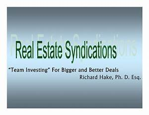Real Estate Syndications
