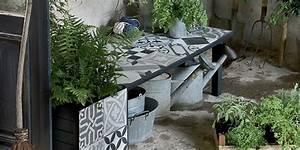 bricoler un banc de rempotage avec des carreaux de ciment With banc de jardin en ciment