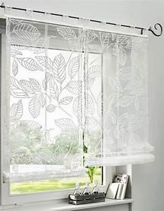 Raffrollo Weiß Transparent : 1 st raffrollo 80 x 140 wei bl tter motiv voile ~ Lateststills.com Haus und Dekorationen