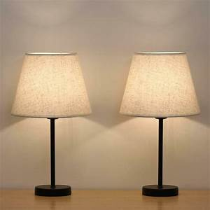 Small, Nightstand, Lamps, Set, Of, 2, With, Fabric, Shade, Bedside, Desk, Lamps, For, Bedroom