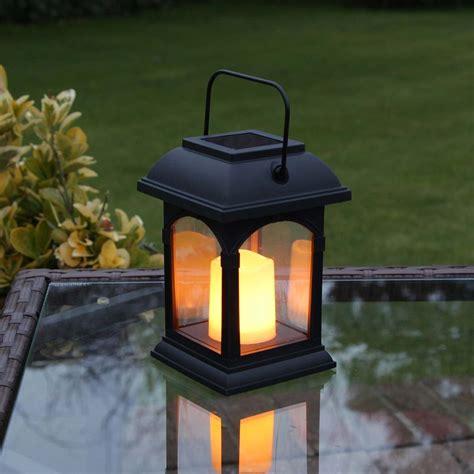outdoor solar lanterns black solar candle lantern flickering led 15cm 1316