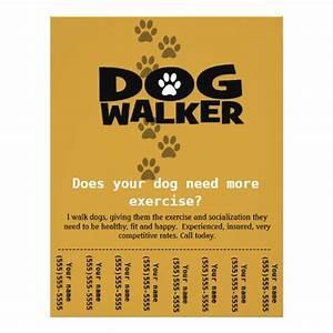 dog walker custom promotional tear sheet flyer zazzle With dog walking flyer template free