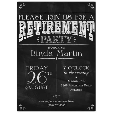 chalkboard black retirement party photo invitations