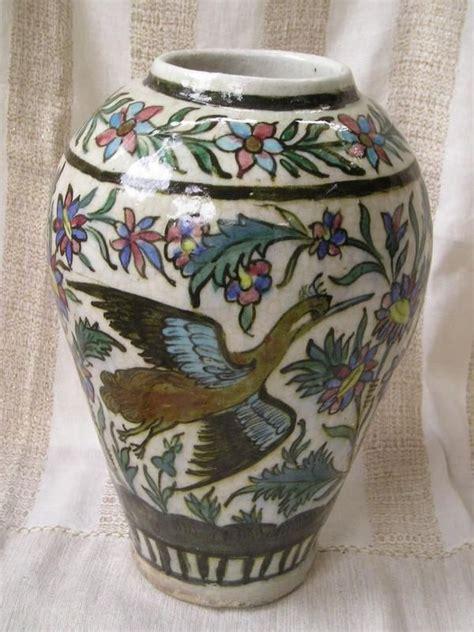 islamic qajar polychrome persian ceramic vase phoenix