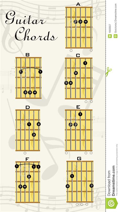 guitar chords stock illustration image  musical note