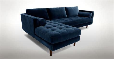 Blue Velvet Mid-century Modern Sectional-upholstered
