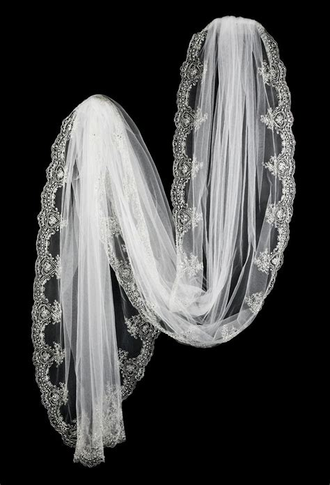 White Cathedral Bridal Veil With Elegant Silver Embroidery