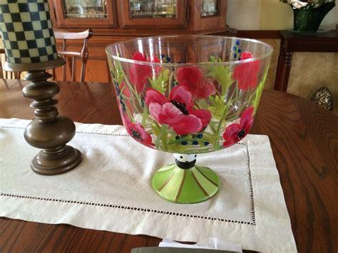 handmade hand painted trifle bowlpunch bowlglassware