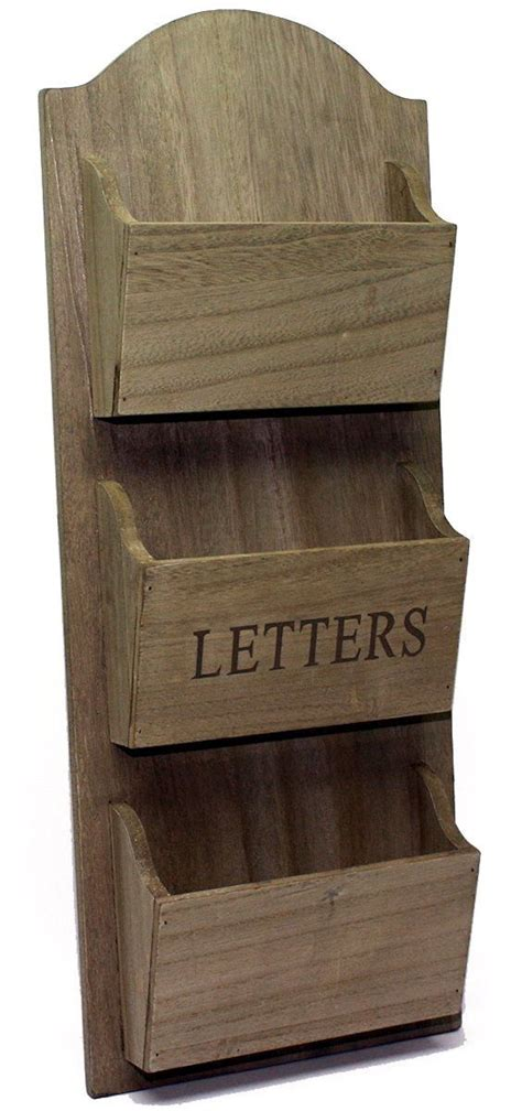 rustic wooden wall hanging letter holder rack amazonco
