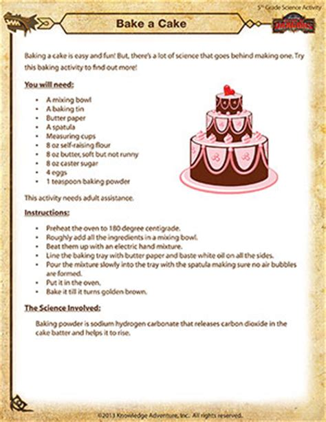 how to bake a cake bake a cake free science activity pdf for fifth grade